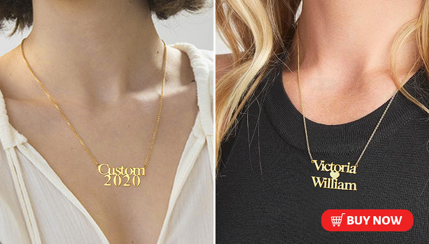Simple Custom Double Layered Name Necklace with Number Date For Women Girls