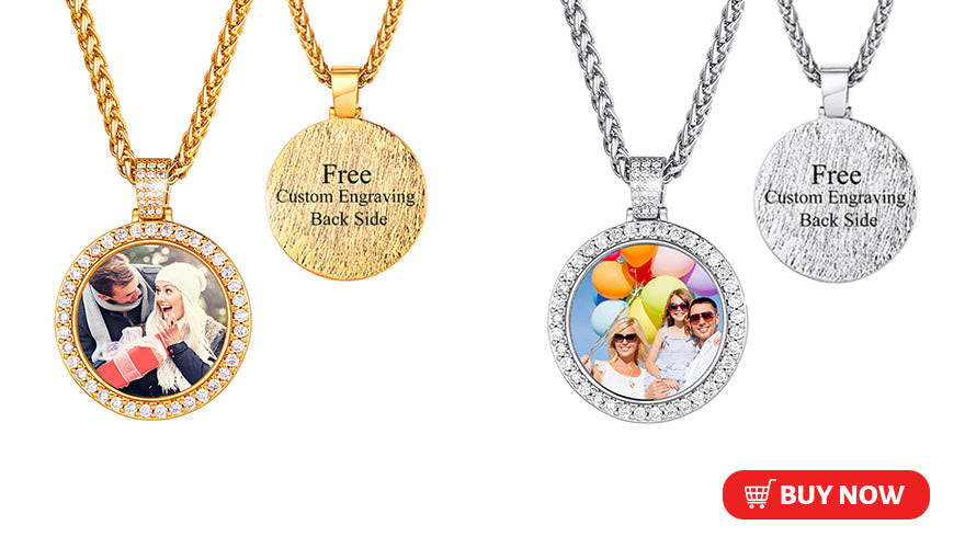 Personalized Picture Necklace with AAA+ Cubic Zirconia Custom Hip Hop Jewelry