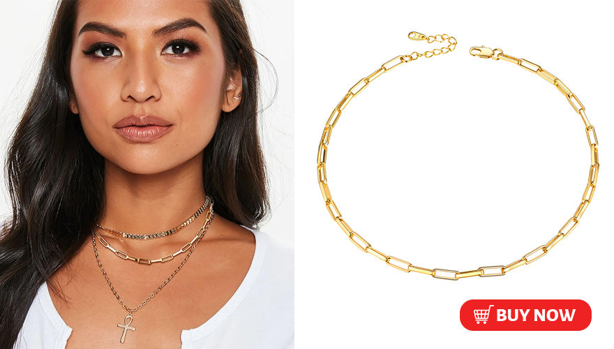 18K Gold Plated Dainty Feminine Link Chain Choker Necklace For Women
