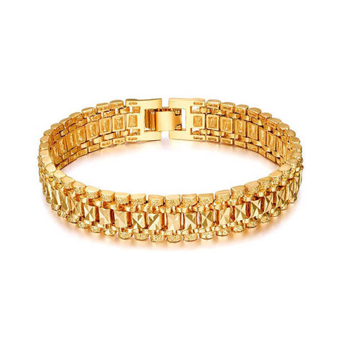 18K Real Gold/Platinum Plated Bracelet Punk Style Thick Chain Link Bracelet Men Jewelry