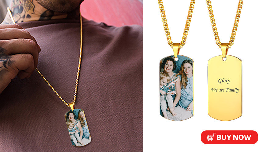 Classic Engraved Military Dog Tag Picture Necklace (2 colors available)