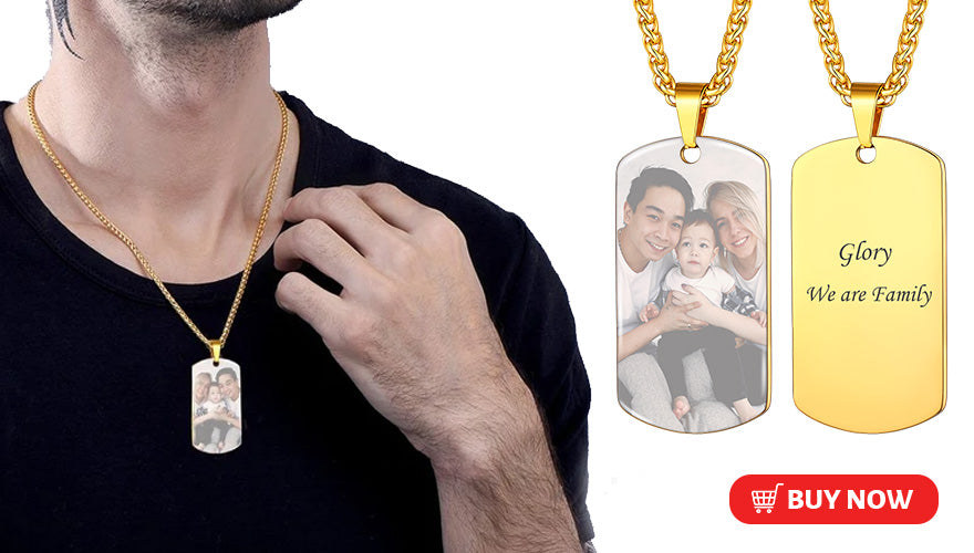 Custom Engravable Dog Tag Necklace with Picture