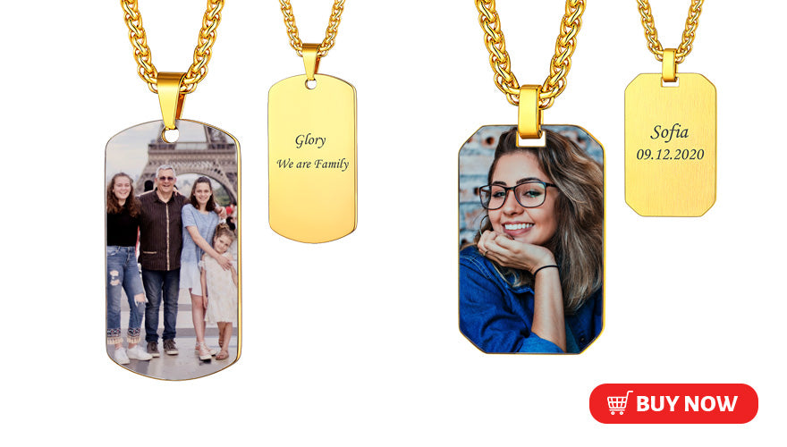 Personalized Engraved Dog Tag Necklace with Photo Customized Gift For Men Women