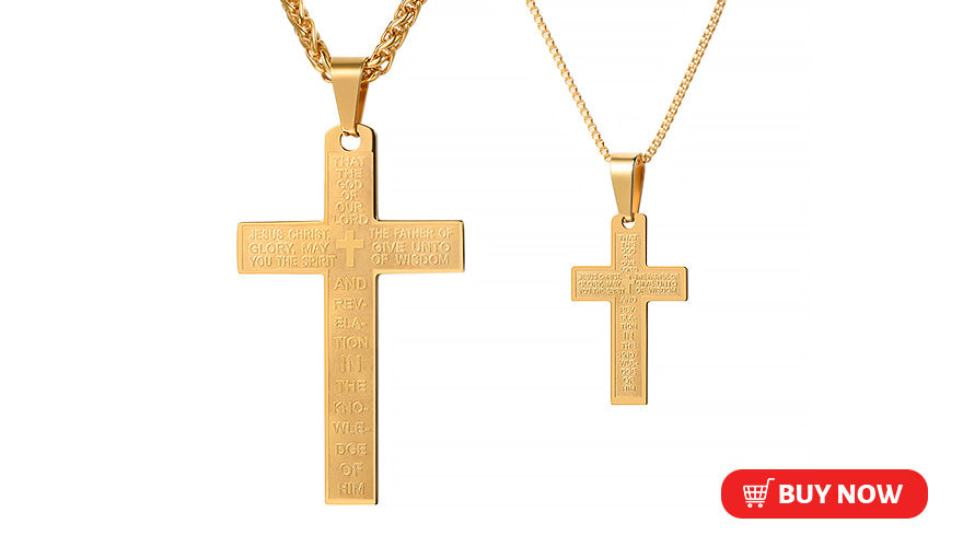 Custom 2 Pcs Couple Cross Necklace Set Lord's Prayer Christian Jewelry (3 Available Colors)