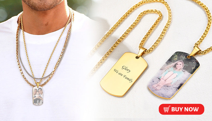 Classic Personalized Engraved Dog Tag Necklace with Photo