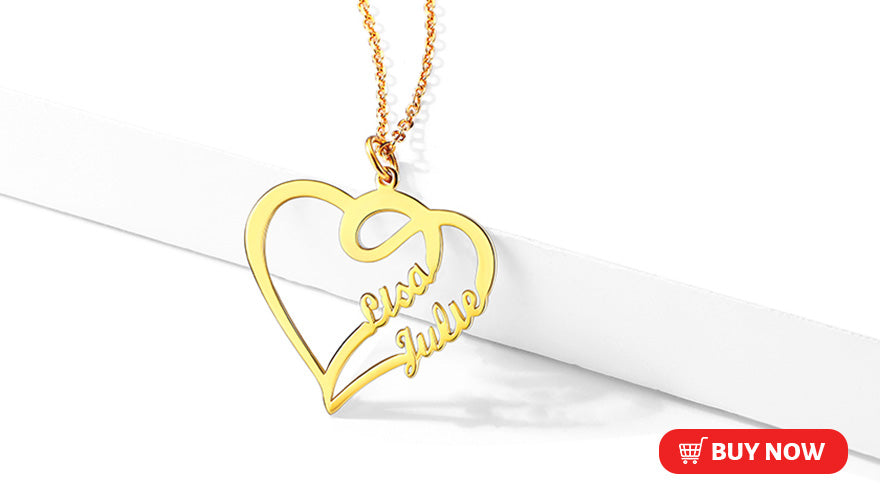 Personalized Heart Shaped Couple Name Necklace 925 Sterling Silver Nameplate
