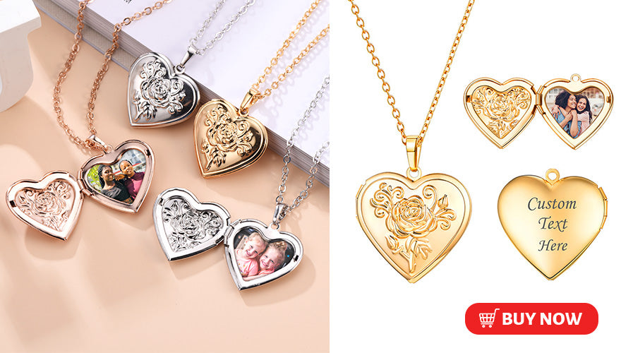 Vintage Heart Engraved Locket Necklace With Picture Personalized Gift For Women (3 colors available)