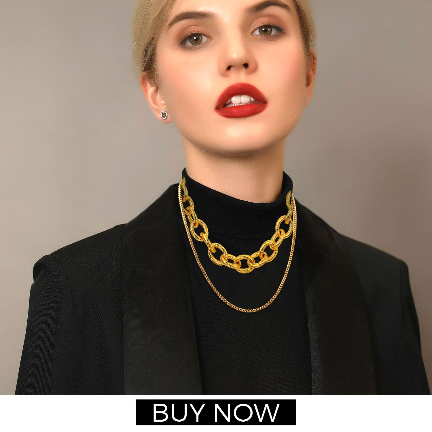 Sleek Chic Cable Gold Chain Necklace For Men Women 18K Gold Plated