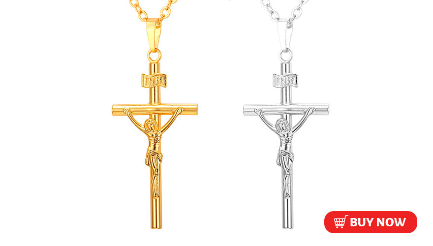 Engraved Custom INRI Crucifix Cross Necklace Jesus Christ Necklace for Christians (3 Available Colors)
