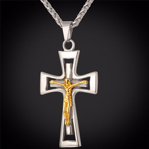18K Gold Plated Crucifix Cross Pendant Necklace Men