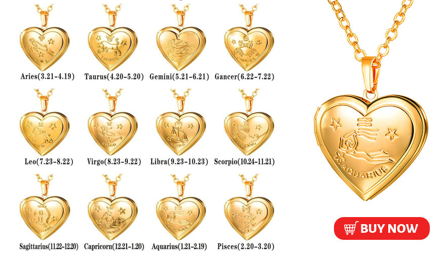 12 Constellations Locket with Picture Zodiac Sign Necklace