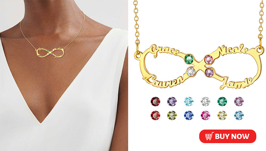 Personalized Classic Infinity 4 Names Necklace with Birthstones (2 colors available)