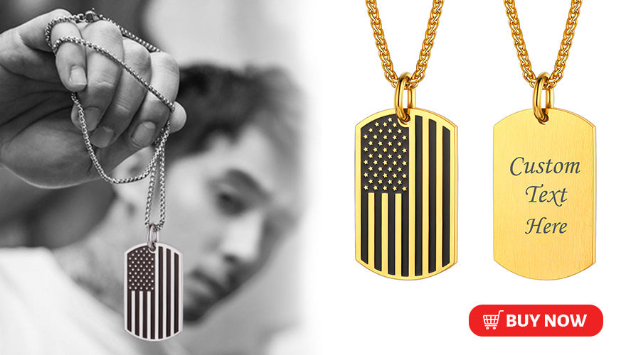 Personalized Engraved Two Tone American Flag Necklace Military Dog Tag for Men
