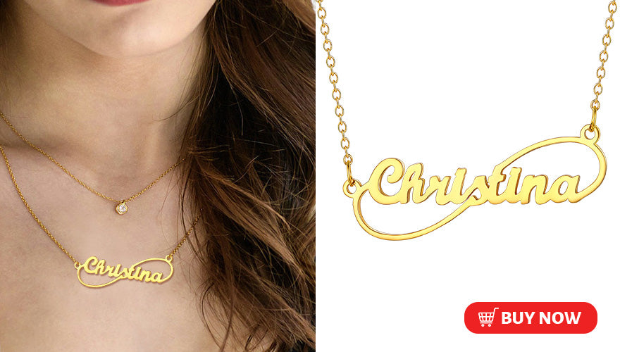 Personalized Minimalist Infinity Name Necklace 18K Gold/Platinum Plated
