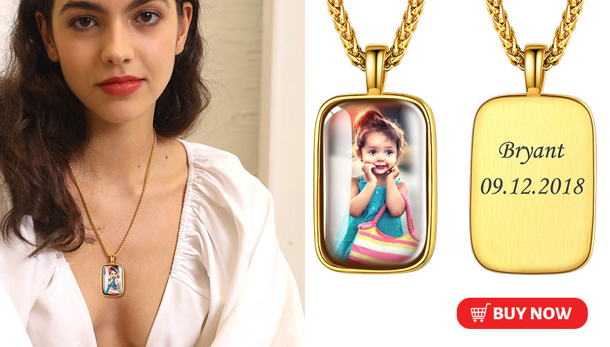 Personalized 3D Convex Engraved Picture Necklace