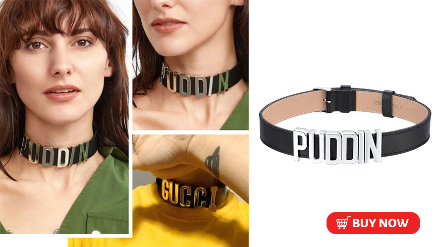 Personalized Adjustable Genuine Leather Initial Letter Choker Collar Necklace