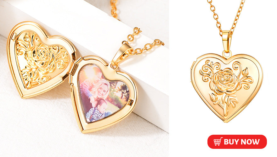 Personalized Heart Locket Picture Necklace with Rose and Free Engraved Messages