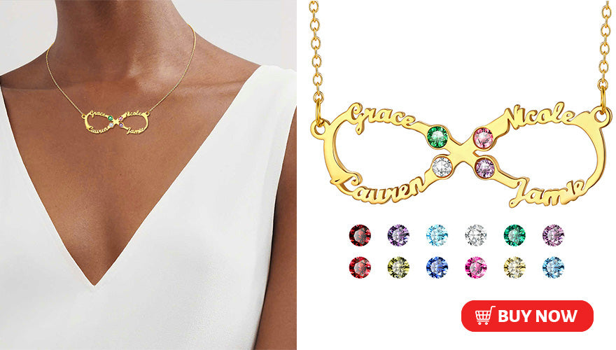 Personalized Infinity Name Necklace with Birthstone