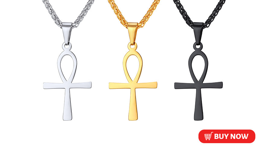 Simple Engravable Ankh Cross Necklace Key of the Nile Custom Egyptian Jewelry (3 Available Colors)