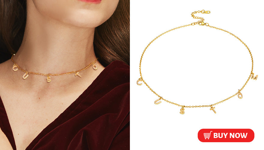 Customized DIY Initial Letter Choker Necklace for Women Girls (2 colors available)