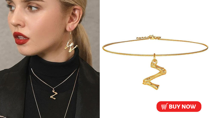 18 K Gold Plated Celebrity Style Bamboo Initial Letter A-Z Choker Necklace