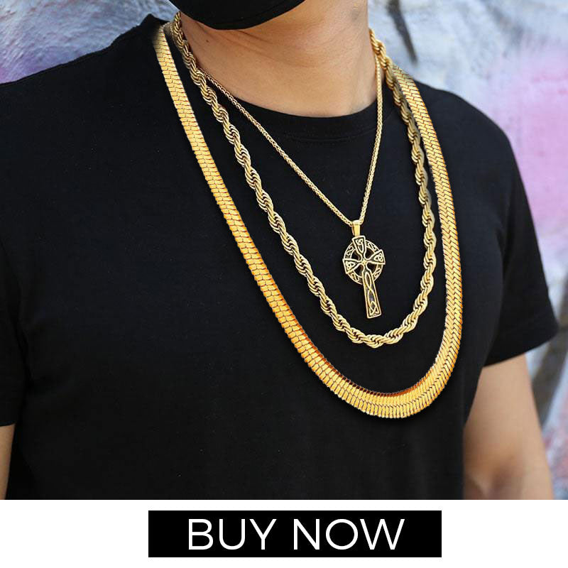 18K Gold Plated Cool Chic Snake Gold Chain For Men