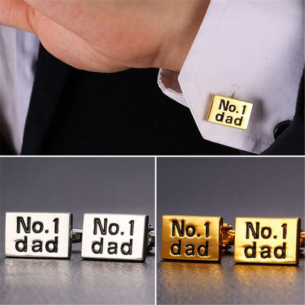 Name Cufflinks No.1 Dad Letter Cuff Buttons