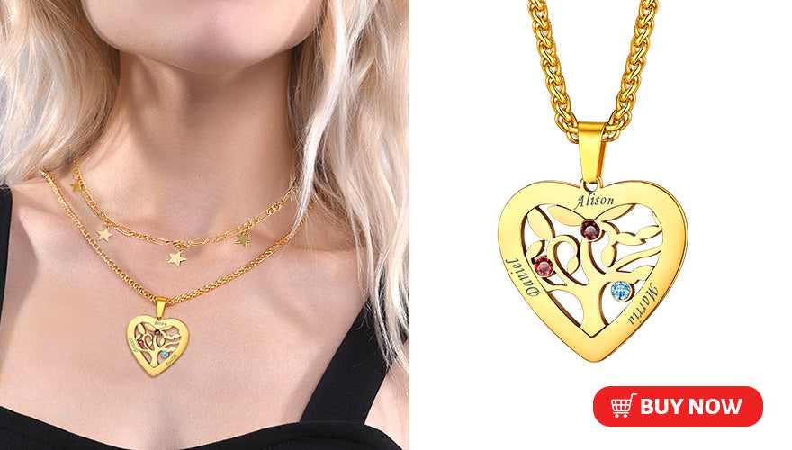 Heart Engraved Family Tree of Life Necklace with 2-7 Names & Birthstones (2 colors available)