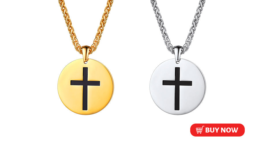 Free Engraving Coin Disc Cross Necklace Custom Christian Jewelry (3 Available Colors)