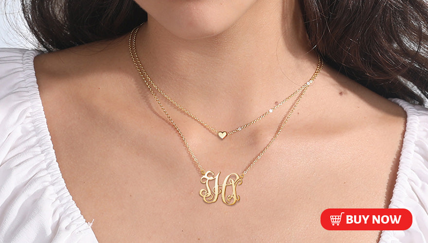 925 Sterling Silver Personalized Monogram Necklace