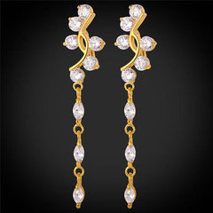 Cubic Zirconia  Leaf Gold Plated Drop Earrings