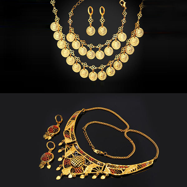 African style gold plated necklace set for wedding