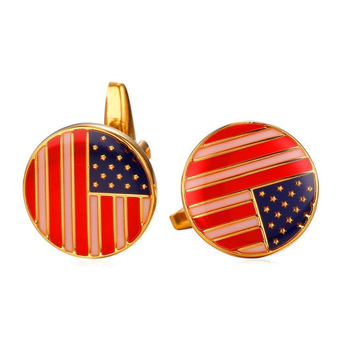 American Flag Round Cufflinks For Men 18K Gold Plated USA Flag French Shirts Cuff Buttons