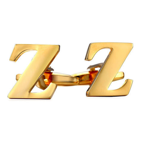 Z Letter Cufflinks Platinum /Gold Plated Alphabet Cuff Links for Men