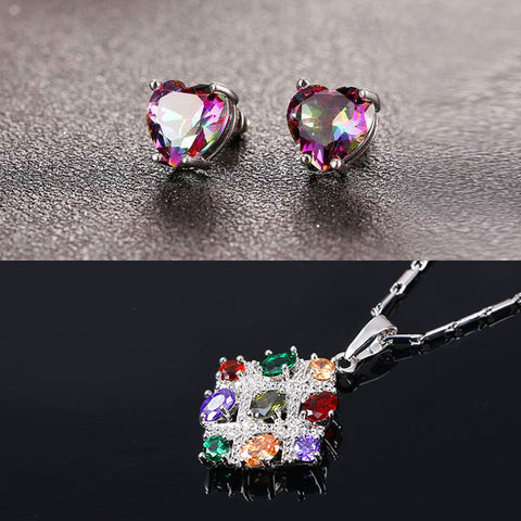 colorful CZ stud earrings and necklace