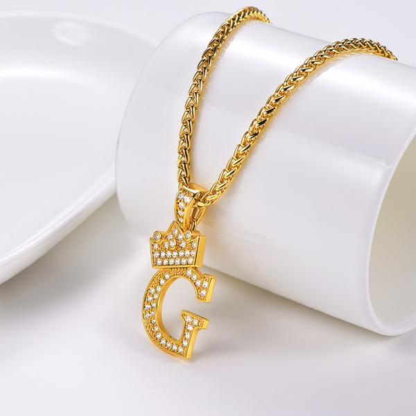 Iced Out Crown Letter C Necklace