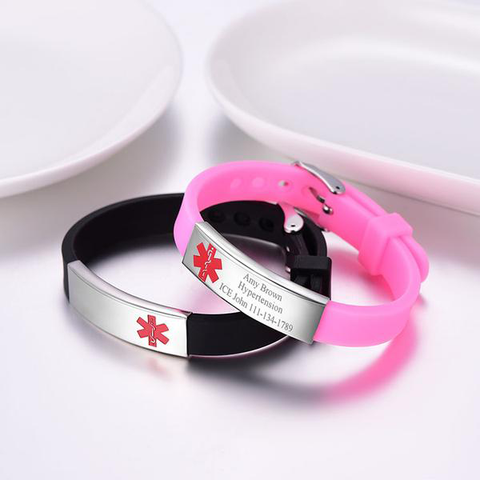 Medical Awareness ID Tag Silicone Rubber Bracelet