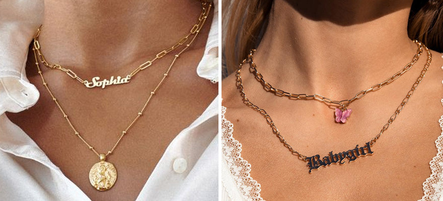 Layer with other necklaces with charms
