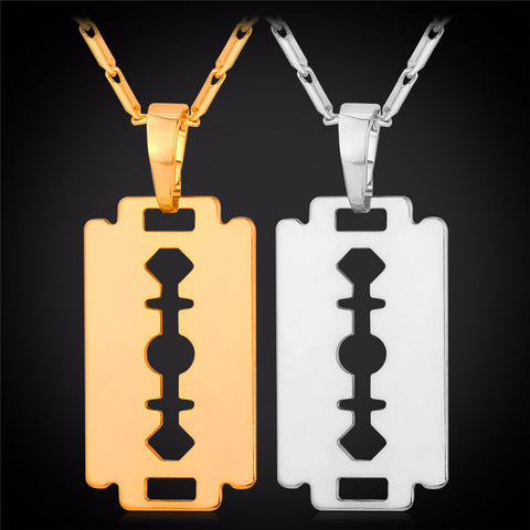 father's day gift guide-Razor Blade Pendant Necklace