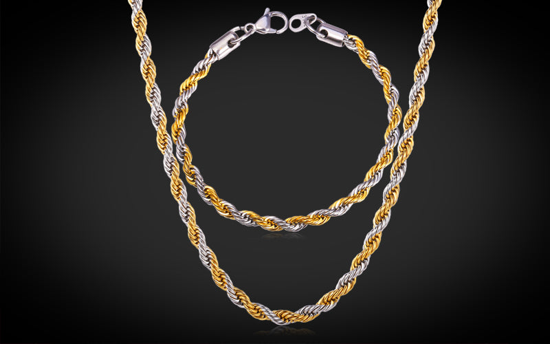 Gold Plated Rope Necklace for You Two Tone 18K Gold Plated Hip Hop Rope Necklace