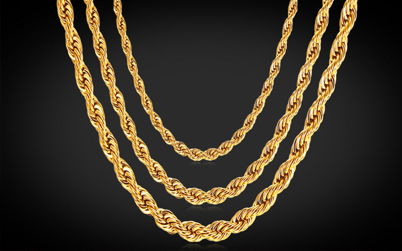 Gold Plated Rope Necklace for You Vintage 18K Gold Plated Rope Necklace
