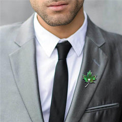 Green Maple Leaf Brooches Pearl Rhinestone Lapel Pin For Men