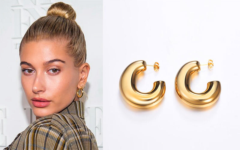 Hailey Baldwin Wear Chunky Tube Earrings