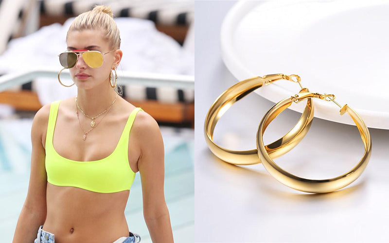 Hailey Baldwin Wear Medium Sized Hoop Earrings On Vocation