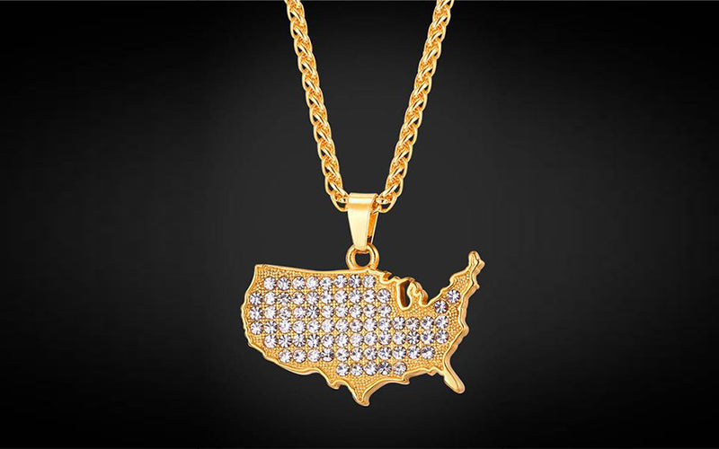 Independence Day Gift for Your Friend and Family-United States Map Pendant Necklace