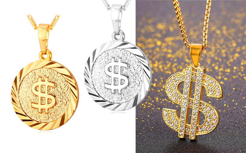 Independence Day Gift for Your Friend and Family-US Dollar Ice out Pendant Necklace