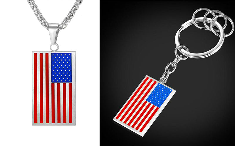Independence Day Gift for Your Friend and Family-Flag Pendant Necklace and Key Chain