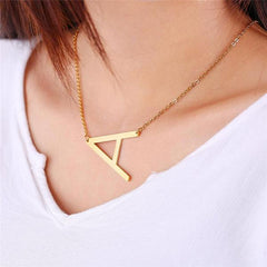 Large Gold Sideways Initial A Necklace Gold Plated Alphabet Jewelry