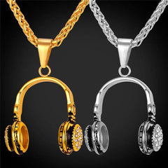 Music Headphone Gold Plated Pendant Necklace
