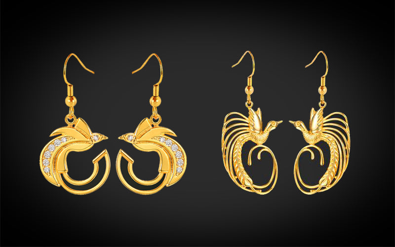 PNG Jewellers Gold Earrings Raggi's Bird-of-Paradise Designed Gold Plated Earrings